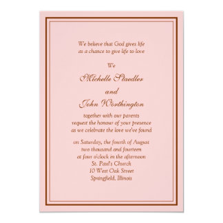 Simple Pink & Brown Wedding Invitation Template