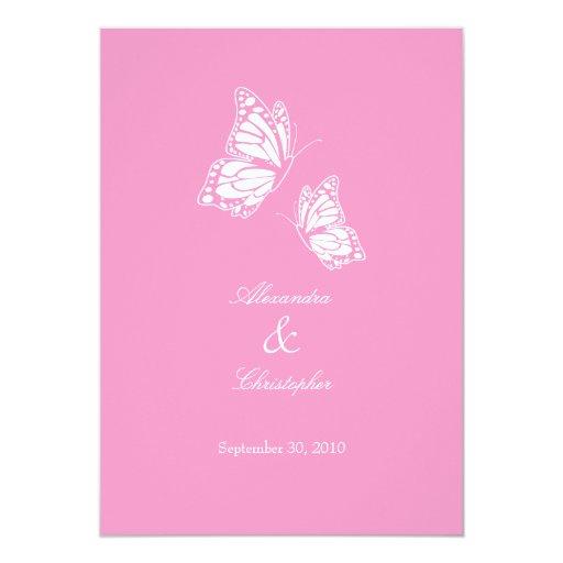 Simple Pink Butterflies Wedding Announcement