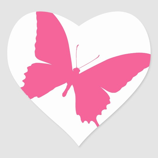 Simple pink butterfly design heart sticker