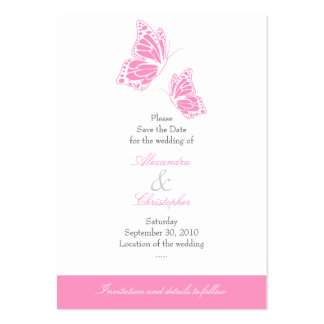 Simple Pink Butterfly Save The Date Wedding Mini Business Card Templates