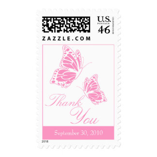 Simple Pink Butterfly Thank You Stamp