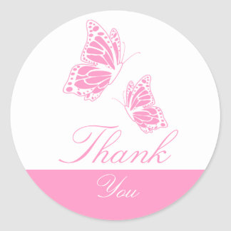 Simple Pink Butterfly Thank You Round Sticker