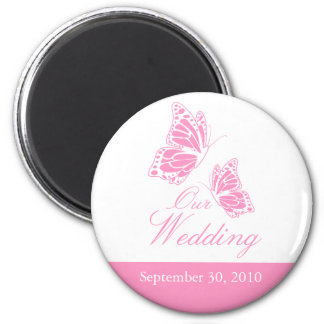 Simple Pink Butterfly Wedding Announcement 2 Inch Round Magnet