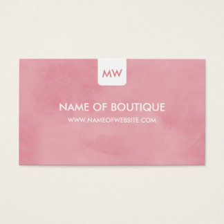 Simple Pink Chic Boutique Monogram Social Media Business Card