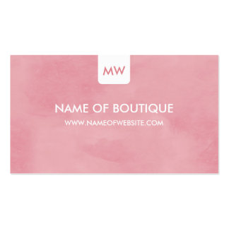 Simple Pink Chic Boutique Monogram Social Media Double-Sided Standard Business Cards (Pack Of 100)