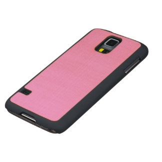 Simple Pink Color Carved Maple Galaxy S5 Case