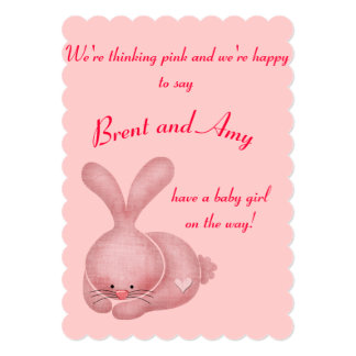 "Simple Pink Girl Couples Baby Shower 5"" X 7"" Invitation Card"