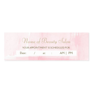 Simple Pink Gold Watercolor Appointment Reminder Business Card Templates