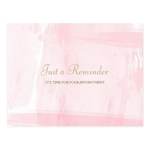 Simple Pink Gold Watercolor Appointment Reminder Postcards