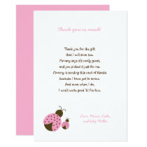 Simple Pink Ladybug baby shower thank you notes Card