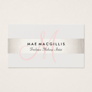 Esthetician business cards templates zazzle simple pink monogram modern faux silver striped business card colourmoves