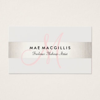 Simple Pink Monogram Modern FAUX Silver Striped Business Card