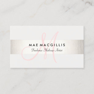 Pink business cards zazzle simple pink monogram modern faux silver striped business card reheart Images