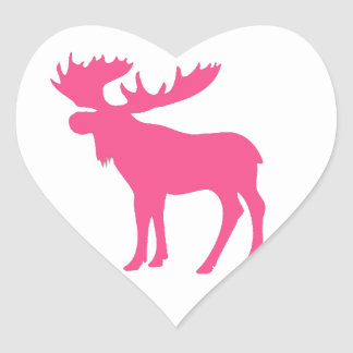 Simple pink moose symbol heart sticker