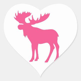 Simple pink moose symbol heart sticker