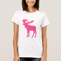 Simple pink moose symbol T-Shirt