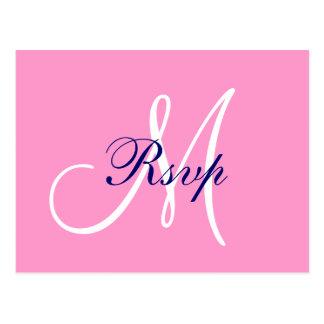 Simple Pink Navy Blue Monogram Wedding RSVP Postcard