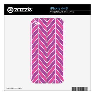 Simple Pink Purple Herringbone Pattern Skins For The iPhone 4
