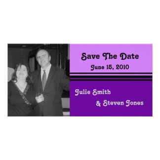 simple pink purple save the date card