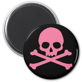 SImple Pink Skull and Crossbones 2 Inch Round Magnet