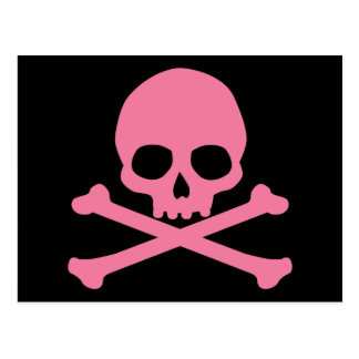 SImple Pink Skull and Crossbones Postcard