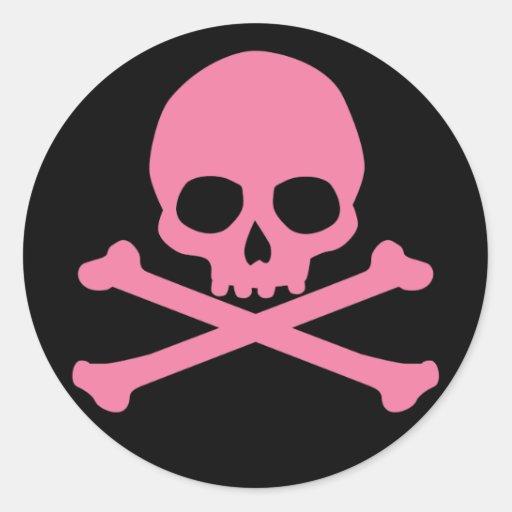 SImple Pink Skull and Crossbones Sticker
