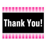 "[ Thumbnail: Simple, Pink Striped ""Thank You!"" Postcard ]"