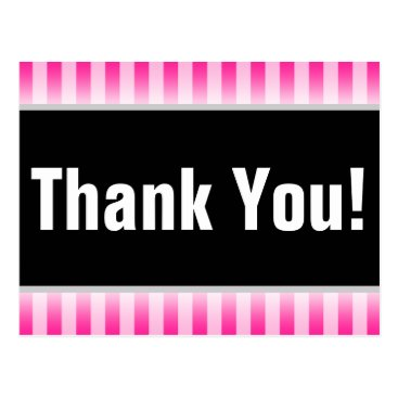 "Simple, Pink Striped ""Thank You!"" Postcard"