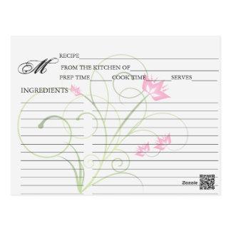 Simple Pink Swirly Swirl Recipe Cards