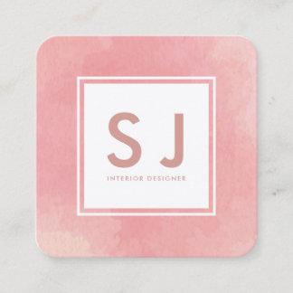 Simple Pink Watercolour Modern Interior Designer Square Business Card