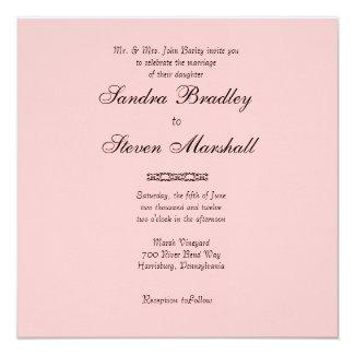 "Simple Pink Wedding Invitation 5.25"" Square Invitation Card"