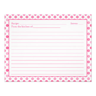 Simple Pink White Polka Dot Recipe Card