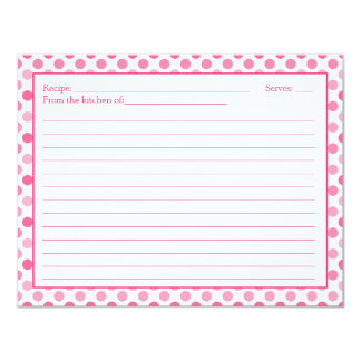 "Simple Pink White Polka Dot Recipe Card 4.25"" X 5.5"" Invitation Card"