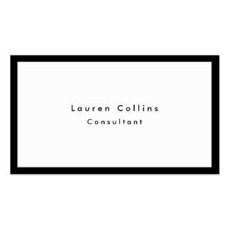 Simple Plain Black Border White Minimalist Modern Business Card