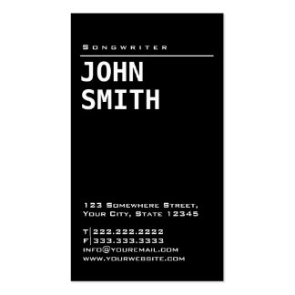 Simple Plain Black Songwriter Business Card