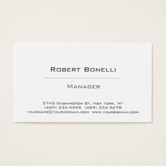 Simple Plain Black White Manager Business Card