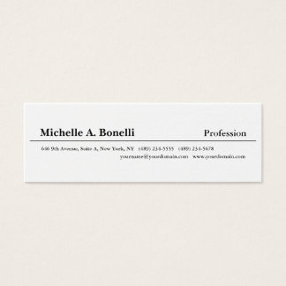 Simple Plain Black White Minimalist Modern Mini Business Card