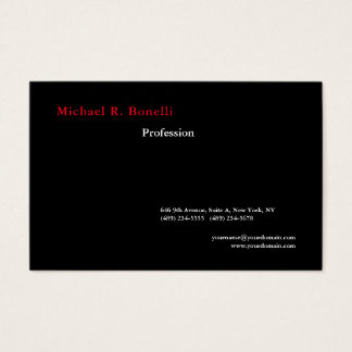 Simple Plain Black White Red Minimalist Modern Business Card