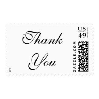 Simple Plain Black White Script Thank You Postage
