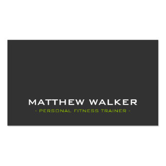 SIMPLE plain bold modern charcoal grey lime green Business Card Template