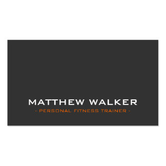 SIMPLE plain bold modern charcoal grey orange Double-Sided Standard Business Cards (Pack Of 100)