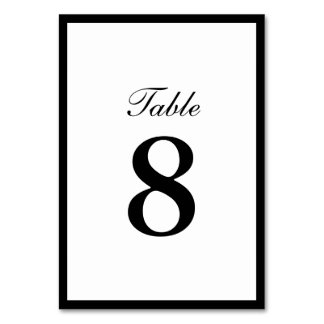 Simple Plain Border Double-sided Table Numbers Card