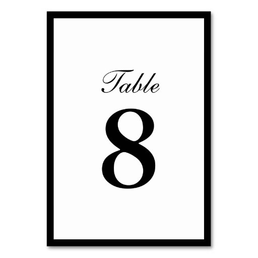 Simple plain border double sided table numbers table card for Table th border