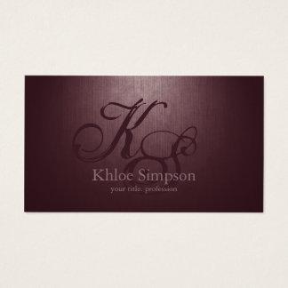 Simple Plain Bordo Custom Monogram Cool Card