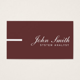 Simple Plain Brown System Analyst Business Card