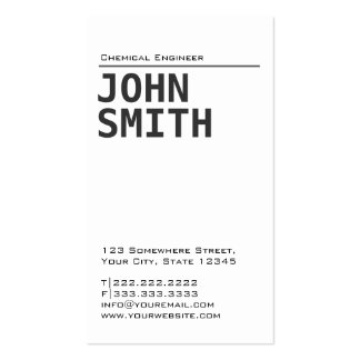 Simple Plain Chemical Engineer Business Card
