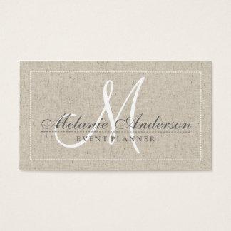 Simple plain chic beige linen texture monogram business card