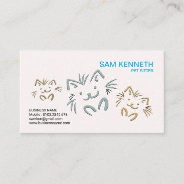 Simple Plain Cute Doggies Pet Sitter Business Card