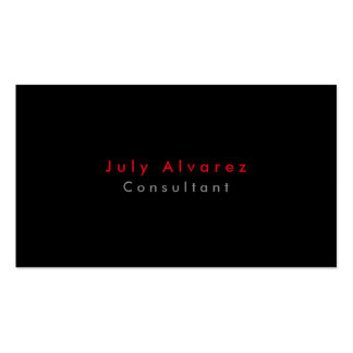 Simple Plain Elegant Black Red Grey Minimalist Business Card