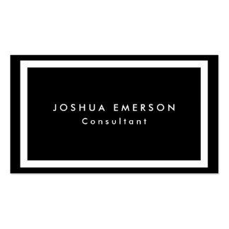 Simple Plain Elegant Black White Borders Modern Business Card